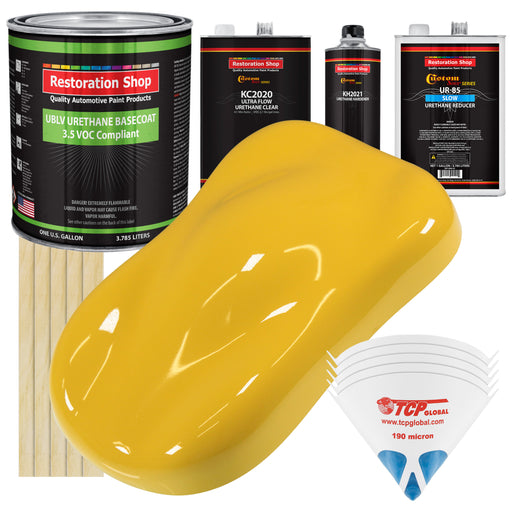 Boss Yellow - LOW VOC Urethane Basecoat with Premium Clearcoat Auto Paint - Complete Slow Gallon Paint Kit - Professional High Gloss Automotive Coating