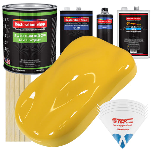 Boss Yellow - LOW VOC Urethane Basecoat with Clearcoat Auto Paint - Complete Slow Gallon Paint Kit - Professional High Gloss Automotive Coating