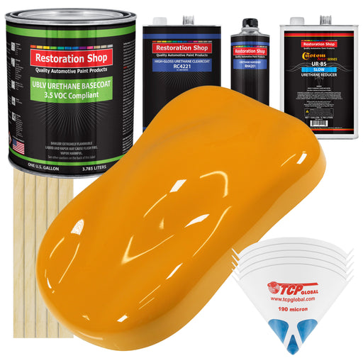 School Bus Yellow - LOW VOC Urethane Basecoat with Clearcoat Auto Paint - Complete Slow Gallon Paint Kit - Professional High Gloss Automotive Coating