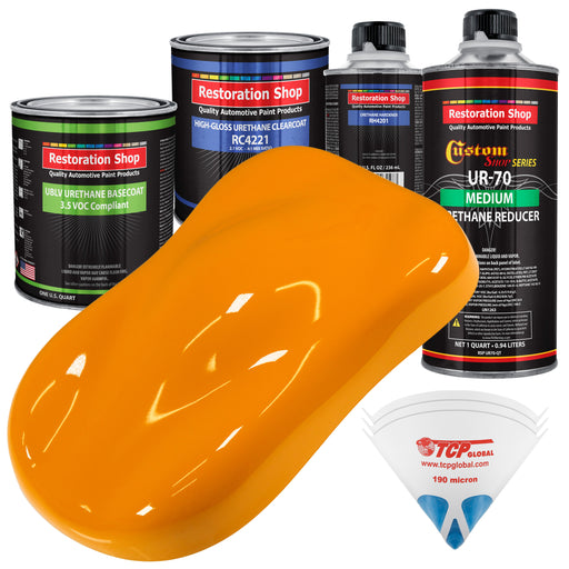 Speed Yellow - LOW VOC Urethane Basecoat with Clearcoat Auto Paint - Complete Medium Quart Paint Kit - Professional High Gloss Automotive Coating