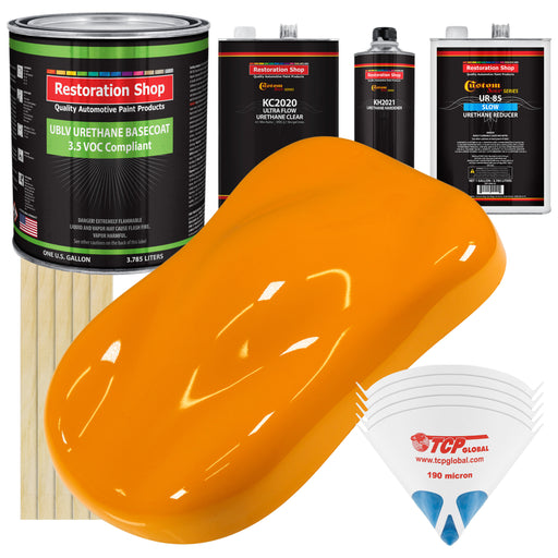 Speed Yellow - LOW VOC Urethane Basecoat with Premium Clearcoat Auto Paint - Complete Slow Gallon Paint Kit - Professional High Gloss Automotive Coating