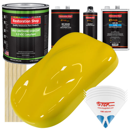 Electric Yellow - LOW VOC Urethane Basecoat with Premium Clearcoat Auto Paint - Complete Slow Gallon Paint Kit - Professional High Gloss Automotive Coating