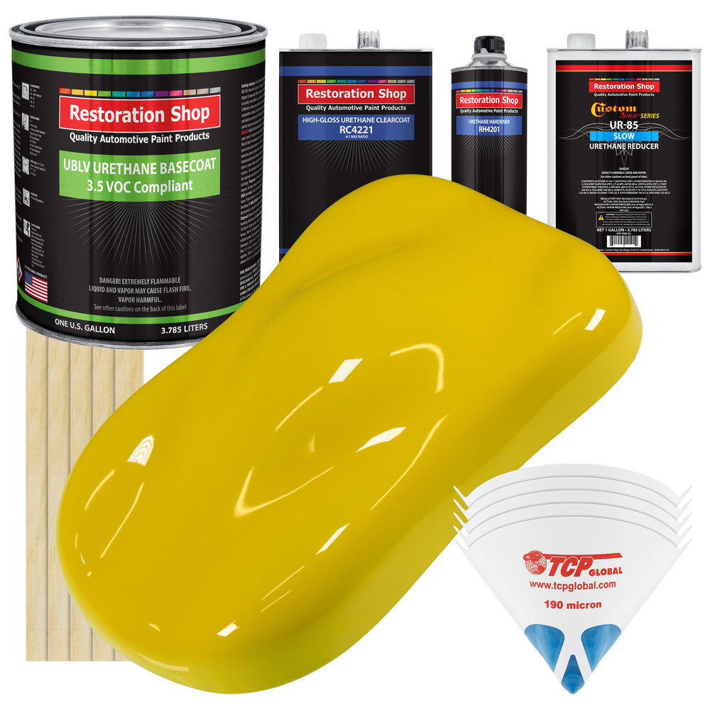 Electric Yellow - LOW VOC Urethane Basecoat with Clearcoat Auto Paint - Complete Slow Gallon Paint Kit - Professional High Gloss Automotive Coating