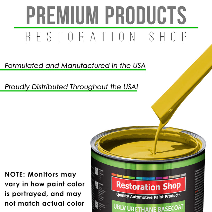 Electric Yellow - LOW VOC Urethane Basecoat Auto Paint - Quart Paint Color Only - Professional High Gloss Automotive Coating