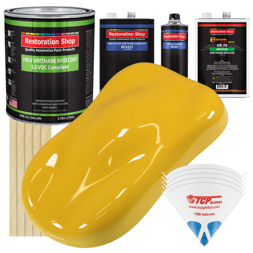 Canary Yellow - LOW VOC Urethane Basecoat with Clearcoat Auto Paint - Complete Medium Gallon Paint Kit - Professional High Gloss Automotive Coating