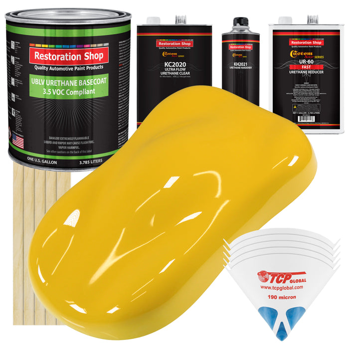 Indy Yellow - LOW VOC Urethane Basecoat with Premium Clearcoat Auto Paint - Complete Fast Gallon Paint Kit - Professional High Gloss Automotive Coating