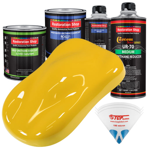 Indy Yellow - LOW VOC Urethane Basecoat with Clearcoat Auto Paint - Complete Medium Quart Paint Kit - Professional High Gloss Automotive Coating