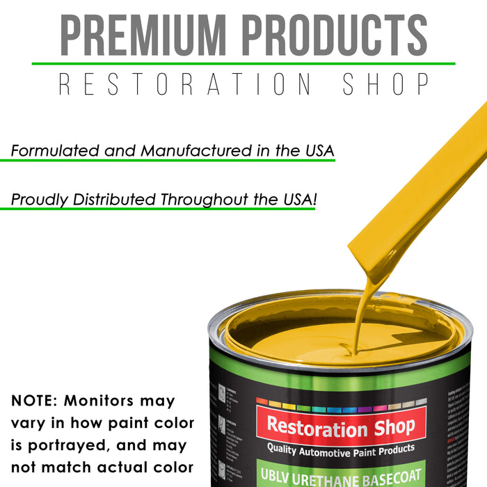 Indy Yellow - LOW VOC Urethane Basecoat with Clearcoat Auto Paint - Complete Slow Gallon Paint Kit - Professional High Gloss Automotive Coating
