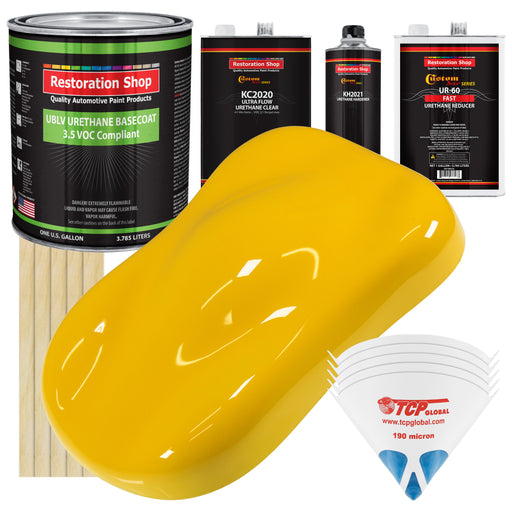 Viper Yellow - LOW VOC Urethane Basecoat with Premium Clearcoat Auto Paint - Complete Fast Gallon Paint Kit - Professional High Gloss Automotive Coating