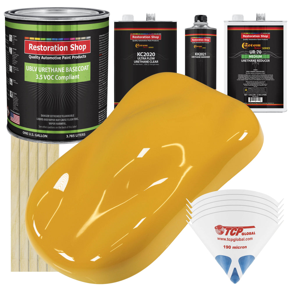 Citrus Yellow - LOW VOC Urethane Basecoat with Premium Clearcoat Auto Paint - Complete Medium Gallon Paint Kit - Professional High Gloss Automotive Coating