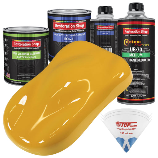 Citrus Yellow - LOW VOC Urethane Basecoat with Clearcoat Auto Paint - Complete Medium Quart Paint Kit - Professional High Gloss Automotive Coating