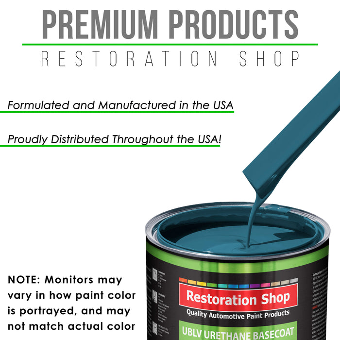 Medium Blue - LOW VOC Urethane Basecoat with Clearcoat Auto Paint - Complete Slow Gallon Paint Kit - Professional High Gloss Automotive Coating