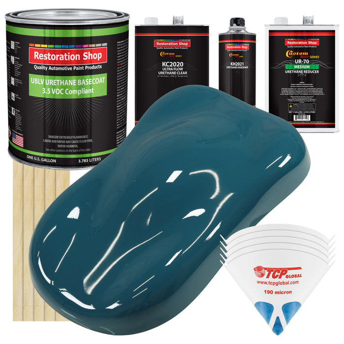 Transport Blue - LOW VOC Urethane Basecoat with Premium Clearcoat Auto Paint - Complete Medium Gallon Paint Kit - Professional High Gloss Automotive Coating
