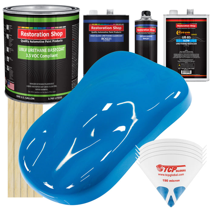 Speed Blue - LOW VOC Urethane Basecoat with Clearcoat Auto Paint - Complete Slow Gallon Paint Kit - Professional High Gloss Automotive Coating