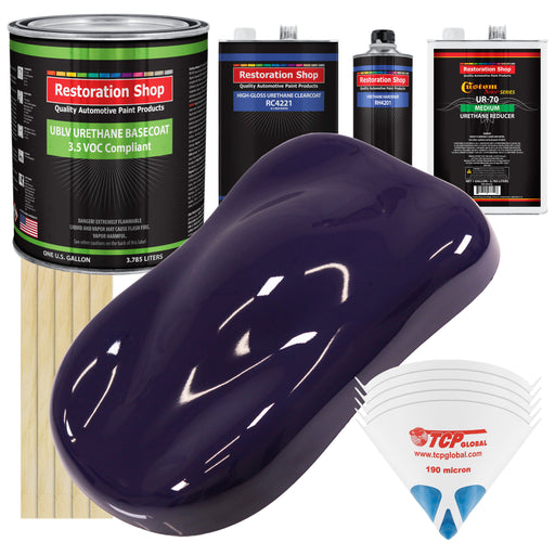 Majestic Purple - LOW VOC Urethane Basecoat with Clearcoat Auto Paint - Complete Medium Gallon Paint Kit - Professional High Gloss Automotive Coating
