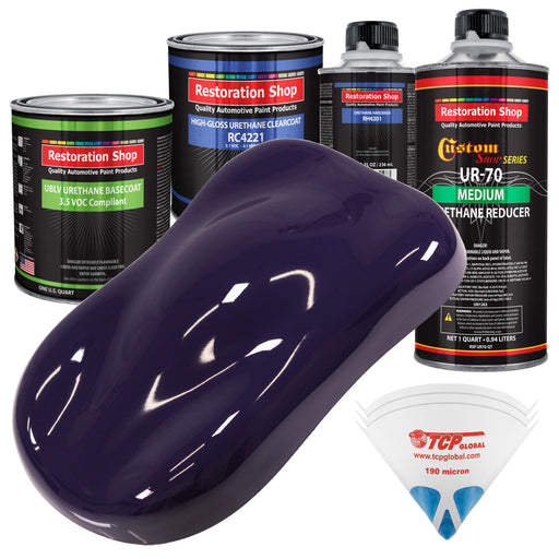 Majestic Purple - LOW VOC Urethane Basecoat with Clearcoat Auto Paint - Complete Medium Quart Paint Kit - Professional High Gloss Automotive Coating