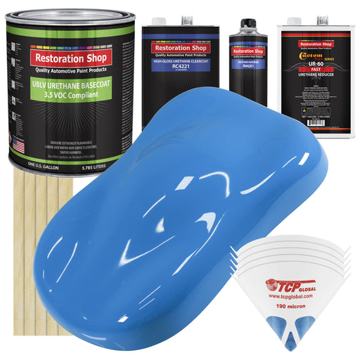 Grabber Blue - LOW VOC Urethane Basecoat with Clearcoat Auto Paint - Complete Fast Gallon Paint Kit - Professional High Gloss Automotive Coating