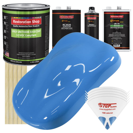 Grabber Blue - LOW VOC Urethane Basecoat with Premium Clearcoat Auto Paint - Complete Medium Gallon Paint Kit - Professional High Gloss Automotive Coating