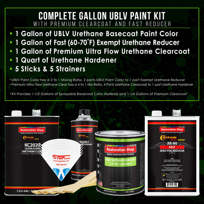 Coastal Highway Blue - LOW VOC Urethane Basecoat with Premium Clearcoat Auto Paint - Complete Fast Gallon Paint Kit - Professional High Gloss Automotive Coating