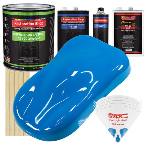 Coastal Highway Blue - LOW VOC Urethane Basecoat with Clearcoat Auto Paint - Complete Fast Gallon Paint Kit - Professional High Gloss Automotive Coating