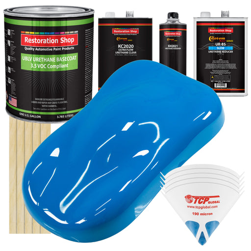 Coastal Highway Blue - LOW VOC Urethane Basecoat with Premium Clearcoat Auto Paint - Complete Slow Gallon Paint Kit - Professional High Gloss Automotive Coating