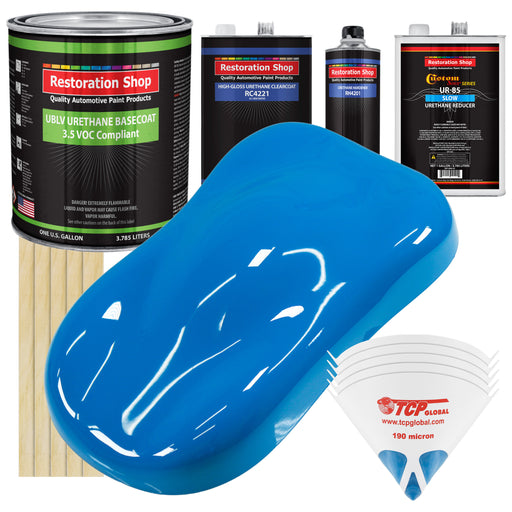 Coastal Highway Blue - LOW VOC Urethane Basecoat with Clearcoat Auto Paint - Complete Slow Gallon Paint Kit - Professional High Gloss Automotive Coating