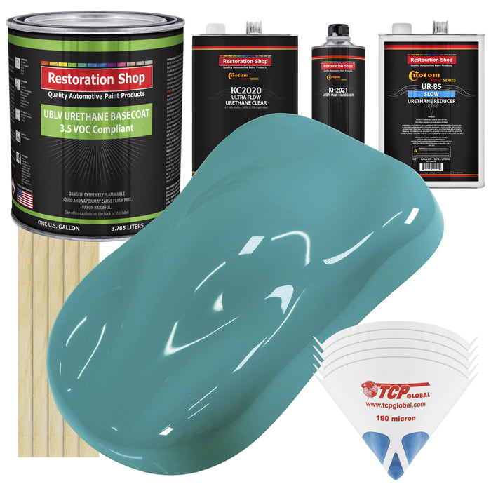 Bright Racing Aqua - LOW VOC Urethane Basecoat with Premium Clearcoat Auto Paint - Complete Slow Gallon Paint Kit - Professional High Gloss Automotive Coating