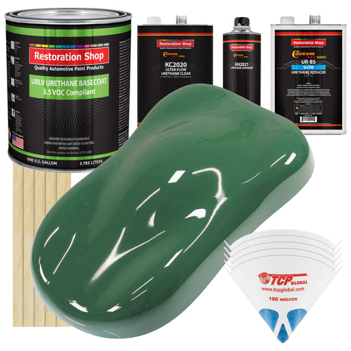 Transport Green - LOW VOC Urethane Basecoat with Premium Clearcoat Auto Paint - Complete Slow Gallon Paint Kit - Professional High Gloss Automotive Coating