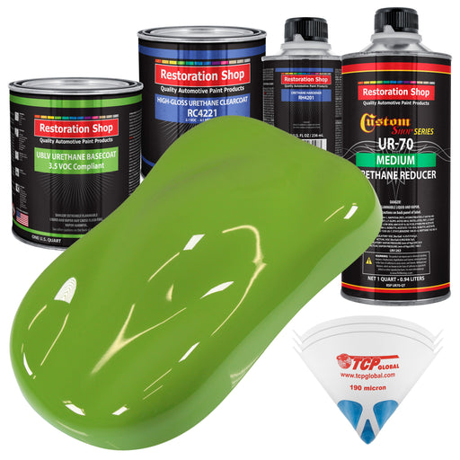 Sublime Green - LOW VOC Urethane Basecoat with Clearcoat Auto Paint - Complete Medium Quart Paint Kit - Professional High Gloss Automotive Coating