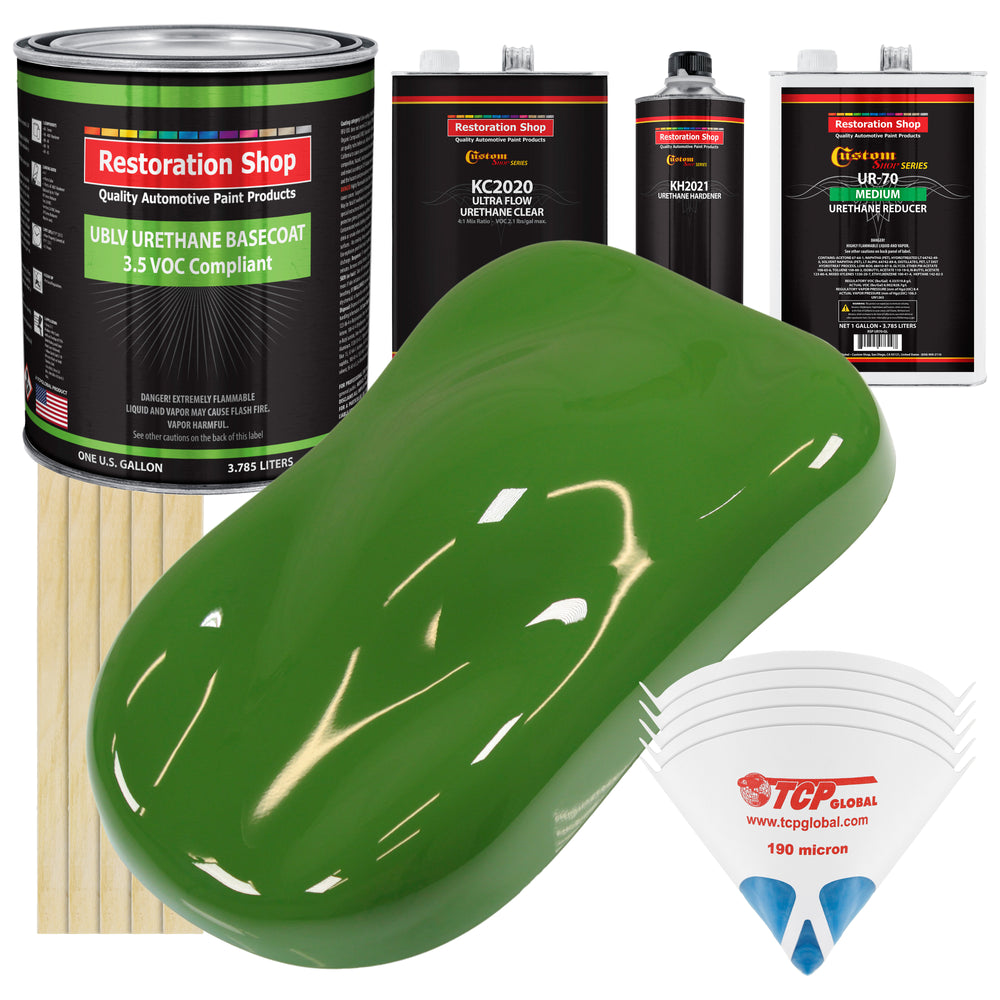 Deere Green - LOW VOC Urethane Basecoat with Premium Clearcoat Auto Paint - Complete Medium Gallon Paint Kit - Professional High Gloss Automotive Coating