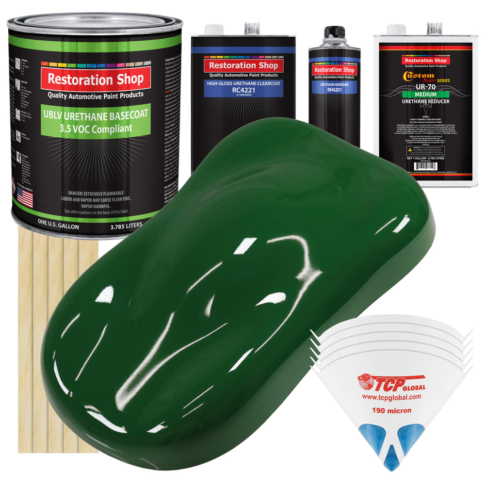 Speed Green - LOW VOC Urethane Basecoat with Clearcoat Auto Paint - Complete Medium Gallon Paint Kit - Professional High Gloss Automotive Coating
