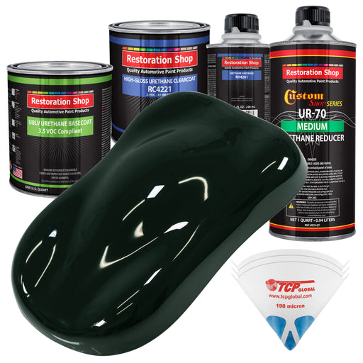 Rock Moss Green - LOW VOC Urethane Basecoat with Clearcoat Auto Paint - Complete Medium Quart Paint Kit - Professional High Gloss Automotive Coating