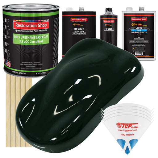 Rock Moss Green - LOW VOC Urethane Basecoat with Premium Clearcoat Auto Paint - Complete Slow Gallon Paint Kit - Professional High Gloss Automotive Coating
