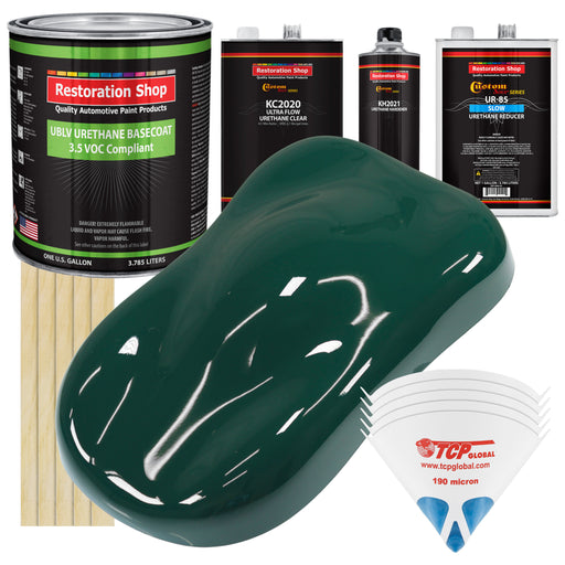 Woodland Green - LOW VOC Urethane Basecoat with Premium Clearcoat Auto Paint - Complete Slow Gallon Paint Kit - Professional High Gloss Automotive Coating