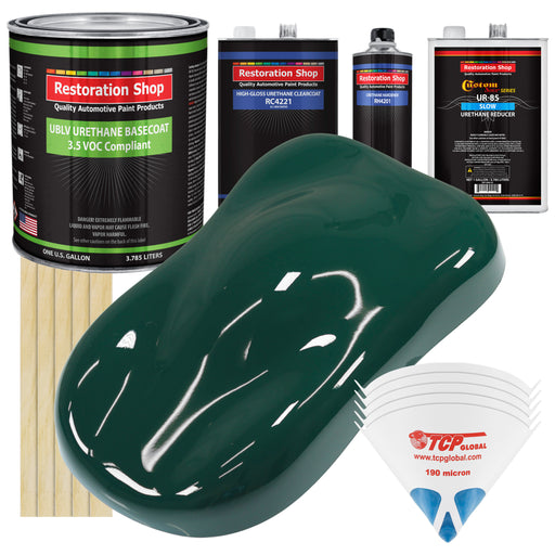 Woodland Green - LOW VOC Urethane Basecoat with Clearcoat Auto Paint - Complete Slow Gallon Paint Kit - Professional High Gloss Automotive Coating