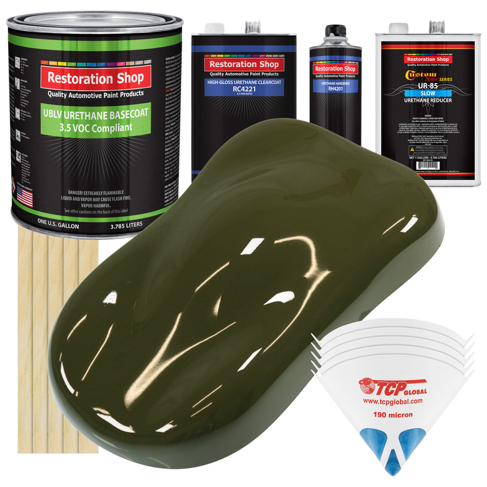 Olive Drab Green - LOW VOC Urethane Basecoat with Clearcoat Auto Paint - Complete Slow Gallon Paint Kit - Professional High Gloss Automotive Coating