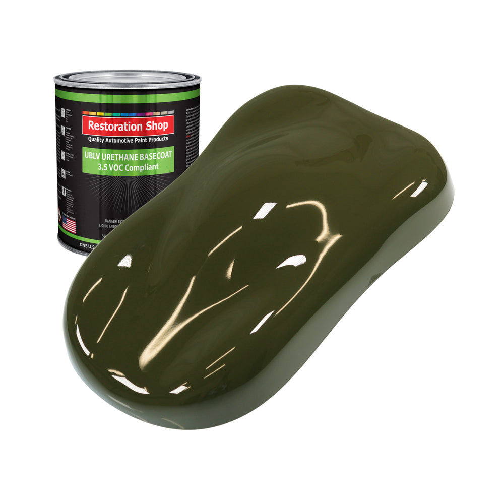 Olive Drab Green - LOW VOC Urethane Basecoat Auto Paint - Quart Paint Color Only - Professional High Gloss Automotive Coating