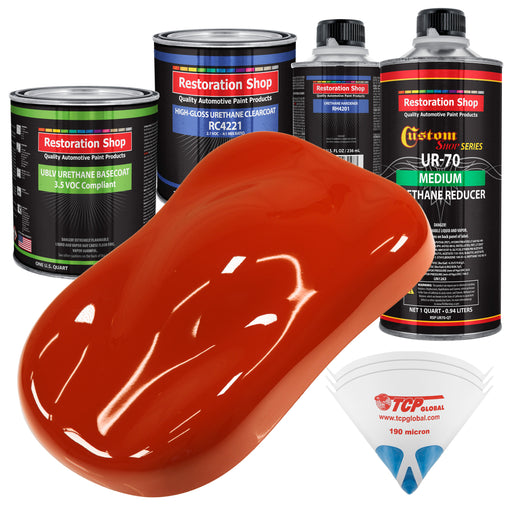 Hot Rod Red - LOW VOC Urethane Basecoat with Clearcoat Auto Paint - Complete Medium Quart Paint Kit - Professional High Gloss Automotive Coating