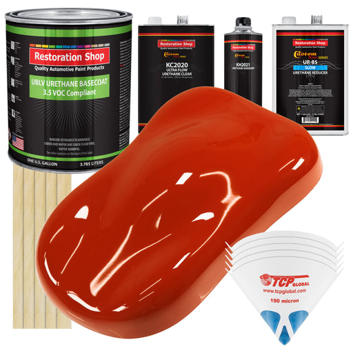 Hot Rod Red - LOW VOC Urethane Basecoat with Premium Clearcoat Auto Paint - Complete Slow Gallon Paint Kit - Professional High Gloss Automotive Coating