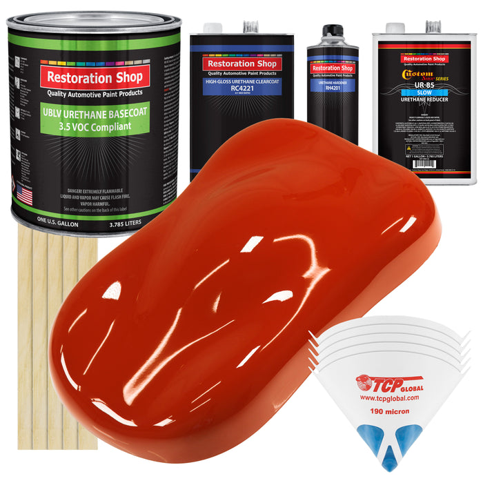 Hot Rod Red - LOW VOC Urethane Basecoat with Clearcoat Auto Paint - Complete Slow Gallon Paint Kit - Professional High Gloss Automotive Coating