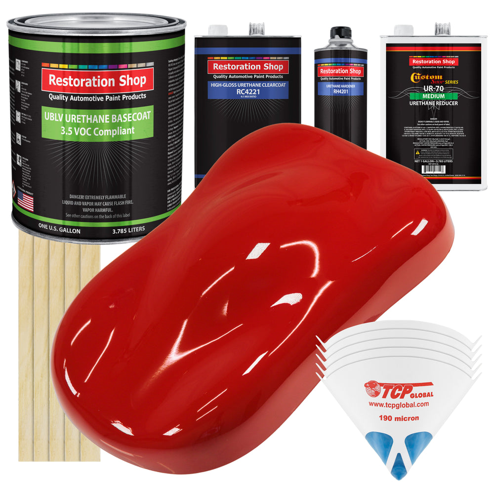 Graphic Red - LOW VOC Urethane Basecoat with Clearcoat Auto Paint - Complete Medium Gallon Paint Kit - Professional High Gloss Automotive Coating