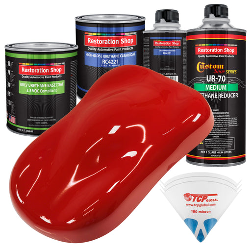 Graphic Red - LOW VOC Urethane Basecoat with Clearcoat Auto Paint - Complete Medium Quart Paint Kit - Professional High Gloss Automotive Coating