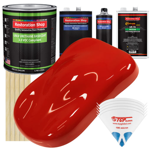 Swift Red - LOW VOC Urethane Basecoat with Clearcoat Auto Paint - Complete Medium Gallon Paint Kit - Professional High Gloss Automotive Coating