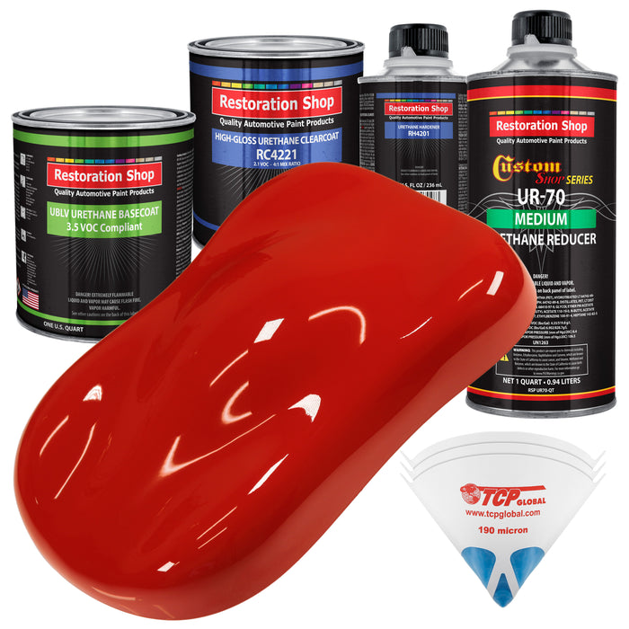 Swift Red - LOW VOC Urethane Basecoat with Clearcoat Auto Paint - Complete Medium Quart Paint Kit - Professional High Gloss Automotive Coating