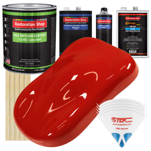 Swift Red - LOW VOC Urethane Basecoat with Clearcoat Auto Paint - Complete Slow Gallon Paint Kit - Professional High Gloss Automotive Coating