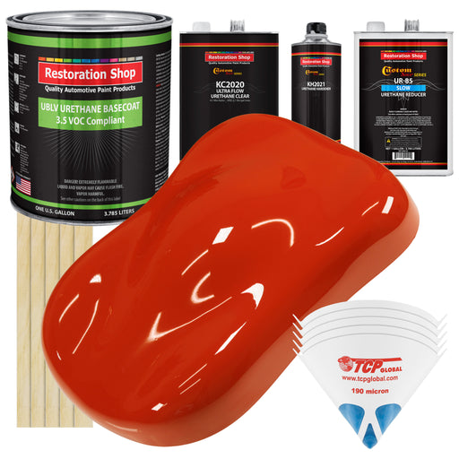 Monza Red - LOW VOC Urethane Basecoat with Premium Clearcoat Auto Paint - Complete Slow Gallon Paint Kit - Professional High Gloss Automotive Coating