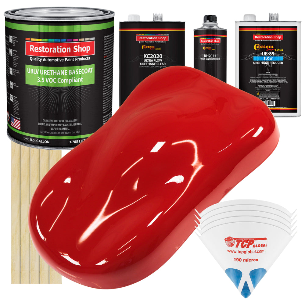 Rally Red - LOW VOC Urethane Basecoat with Premium Clearcoat Auto Paint - Complete Slow Gallon Paint Kit - Professional High Gloss Automotive Coating
