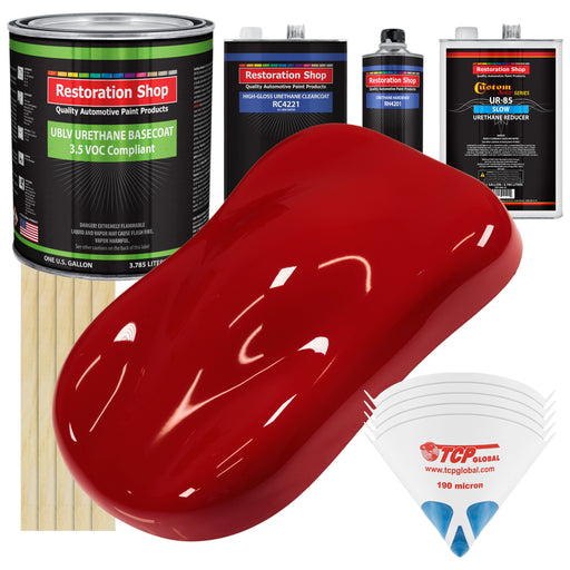 Regal Red - LOW VOC Urethane Basecoat with Clearcoat Auto Paint - Complete Slow Gallon Paint Kit - Professional High Gloss Automotive Coating
