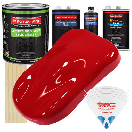 Reptile Red - LOW VOC Urethane Basecoat with Clearcoat Auto Paint - Complete Slow Gallon Paint Kit - Professional High Gloss Automotive Coating
