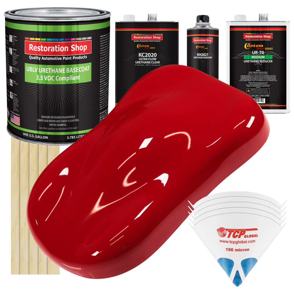 Viper Red - LOW VOC Urethane Basecoat with Premium Clearcoat Auto Paint - Complete Medium Gallon Paint Kit - Professional High Gloss Automotive Coating